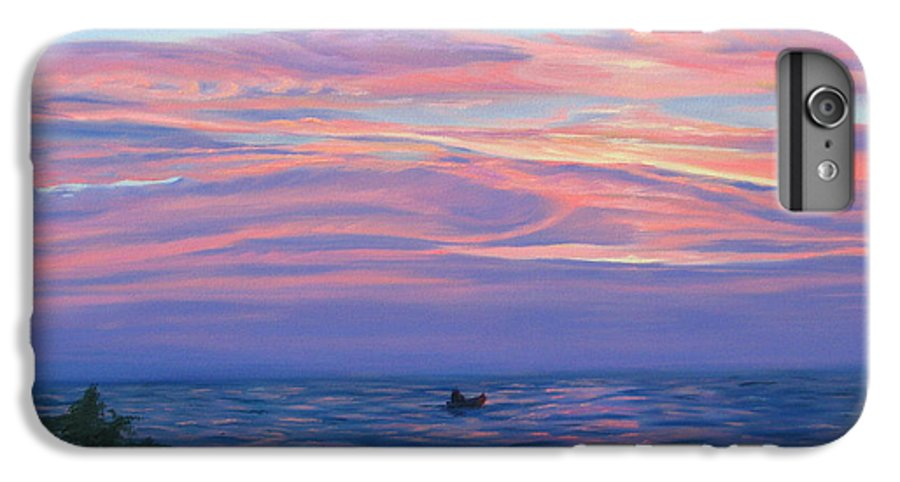 Seascape IPhone 6 Plus Case featuring the painting Sunset Bay by Lea Novak