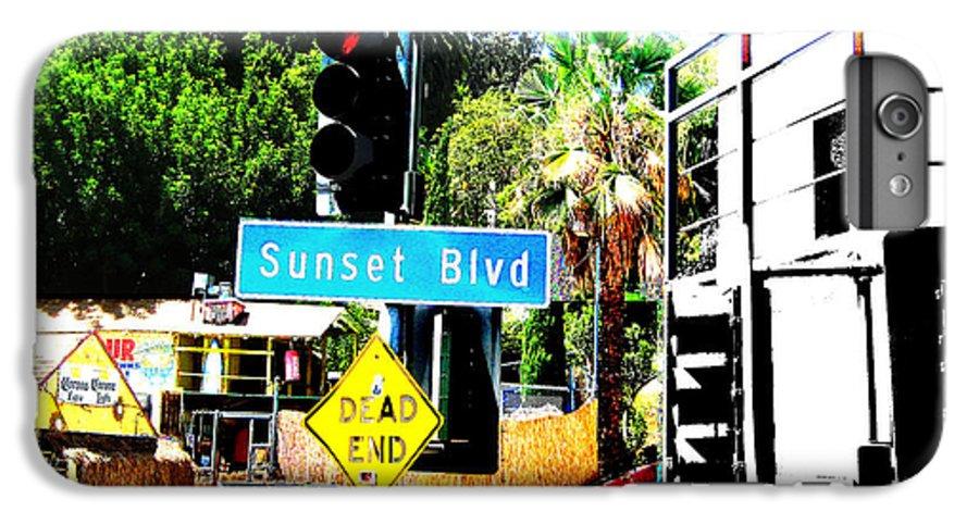 Stoplight On Sunset Blvd IPhone 6 Plus Case featuring the digital art Sunset Blvd by Maria Kobalyan