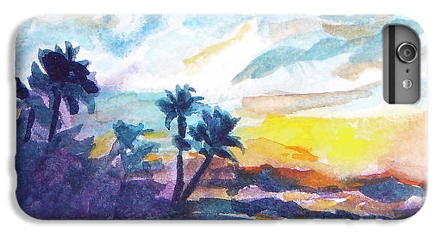 Landscape IPhone 6 Plus Case featuring the painting Sunset In Hawaii by Jan Bennicoff