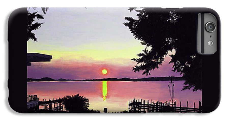 Sunset On Lake IPhone 6 Plus Case featuring the painting Sunset On Lake Dora by Judy Swerlick