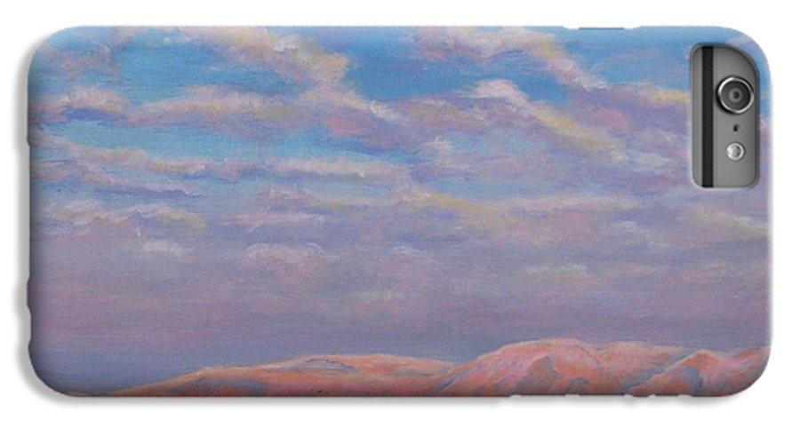 Sunset IPhone 6 Plus Case featuring the painting Sunset On The Dead Sea In Israel by Art Nomad Sandra Hansen
