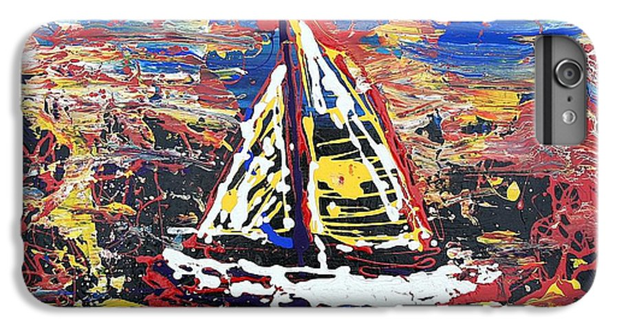Sailboat IPhone 6 Plus Case featuring the painting Sunset On The Lake by J R Seymour