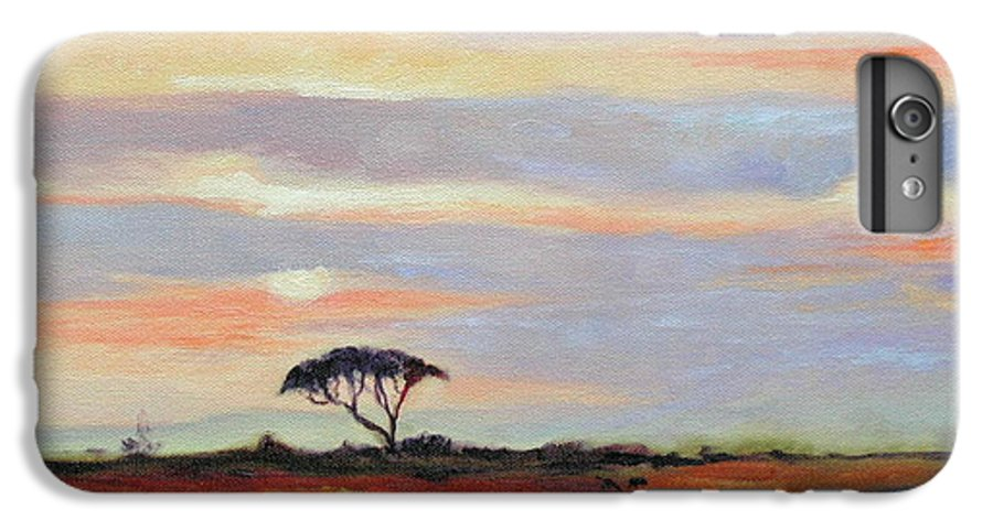 Landscape IPhone 6 Plus Case featuring the painting Sunset On The Serengheti by Ginger Concepcion