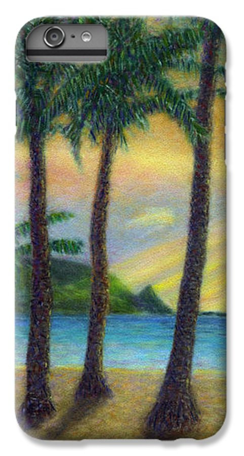 Rainbow Colors Pastel IPhone 6 Plus Case featuring the painting Sunset Palms by Kenneth Grzesik