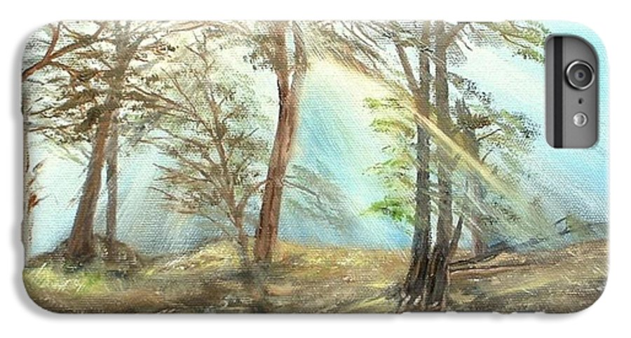 Landscape River Trees Sunshine Reflections IPhone 6 Plus Case featuring the painting Sunshine by Kenneth LePoidevin