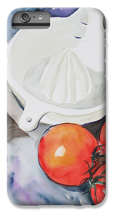 Tomatoes IPhone 6 Plus Case featuring the painting Sunshine On The Vine by Jean Blackmer