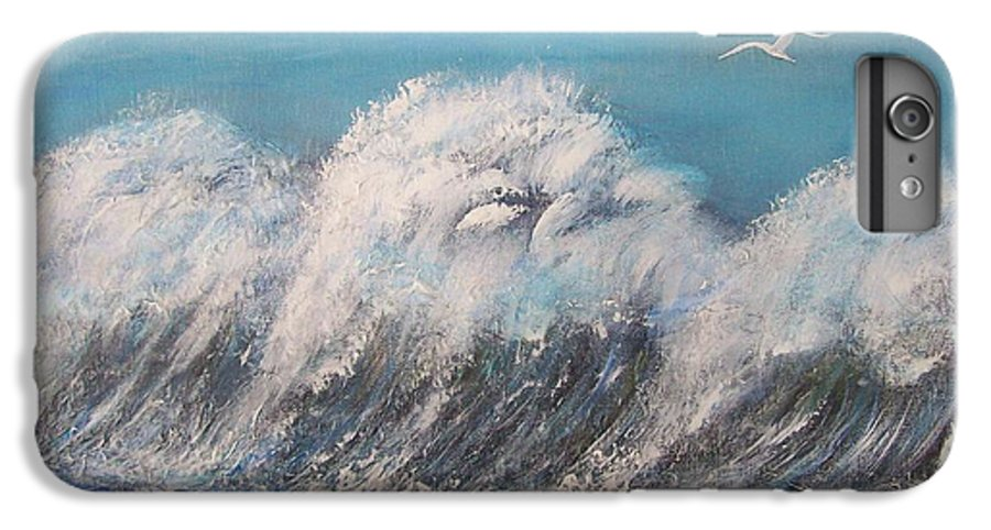 Surreal Tsunami IPhone 6 Plus Case featuring the painting Surreal Tsunami by Tony Rodriguez