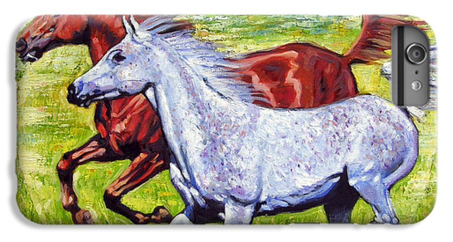 Horses Running IPhone 6 Plus Case featuring the painting Sweet Harmony by John Lautermilch