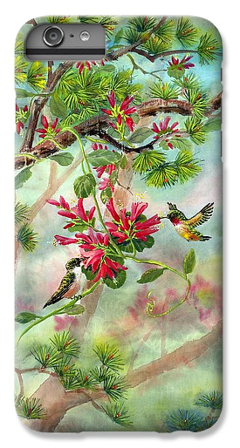 Hummingbirds IPhone 6 Plus Case featuring the painting Sweet Journey by Eileen Fong