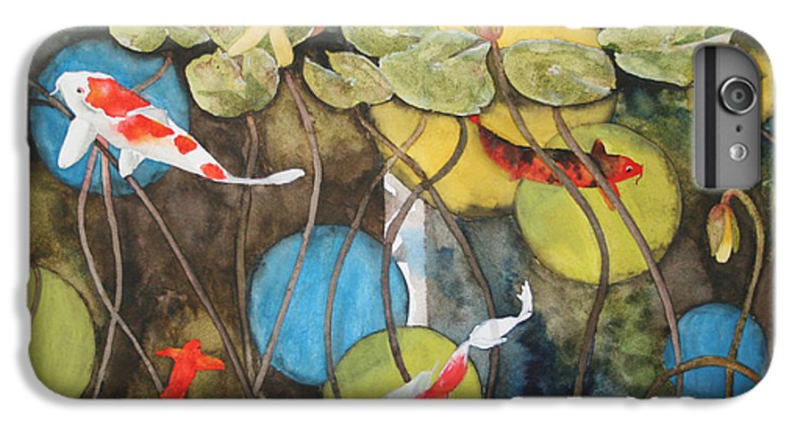 Abstract IPhone 6 Plus Case featuring the painting Swimming In Circles by Jean Blackmer