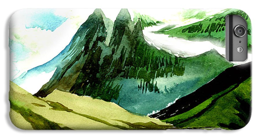 Landscape IPhone 6 Plus Case featuring the painting Switzerland by Anil Nene