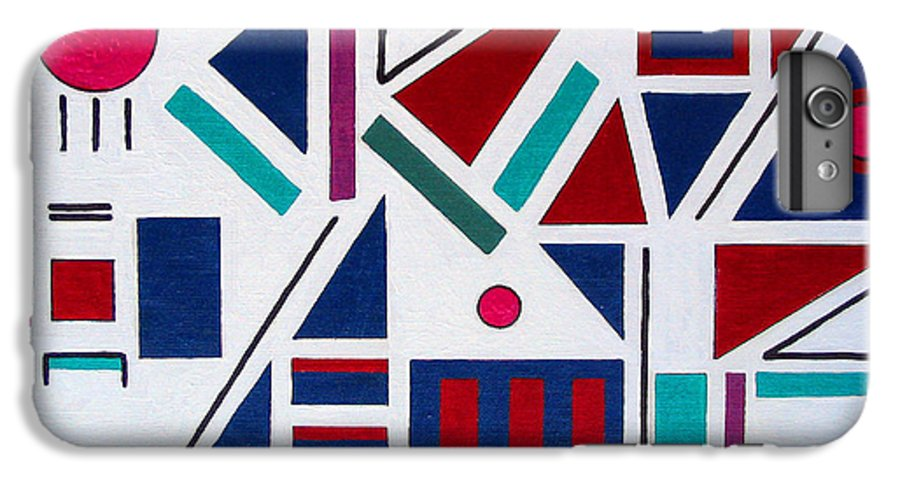 Abstract IPhone 6 Plus Case featuring the painting Symmetry In Blue Or Red by Marco Morales