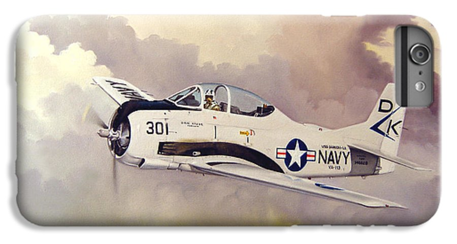 Military IPhone 6 Plus Case featuring the painting T-28 Over Iowa by Marc Stewart