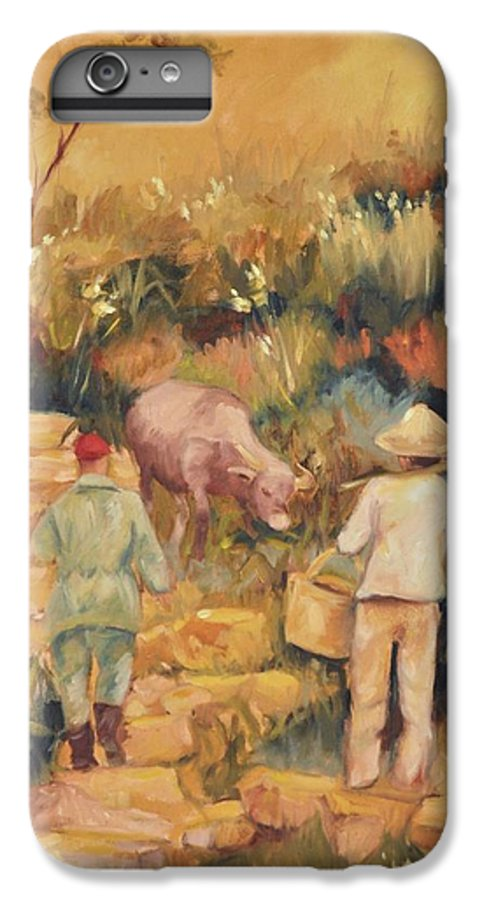 Water Buffalo IPhone 6 Plus Case featuring the painting Taipei Buffalo Herder by Ginger Concepcion
