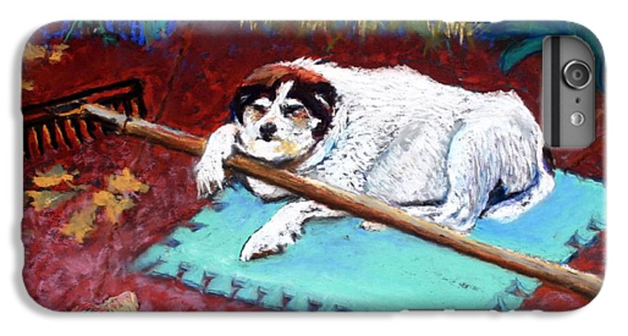 Dog IPhone 6 Plus Case featuring the painting Take A Break by Minaz Jantz