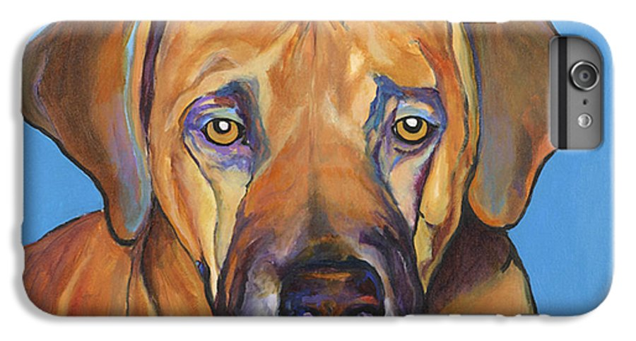 Rhodesian Ridgeback Dog Ridgeback African Colorful Orange Gold Yellow Red IPhone 6 Plus Case featuring the painting Talen by Pat Saunders-White