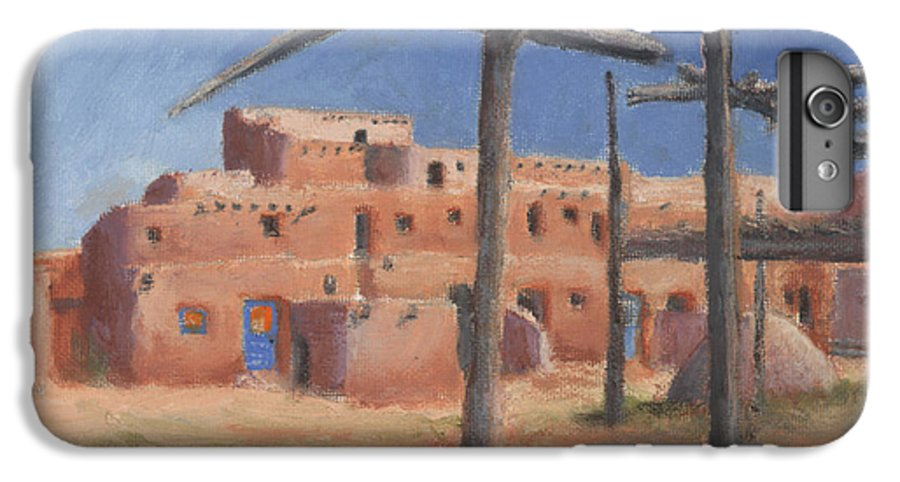 Taos IPhone 6 Plus Case featuring the painting Taos Pueblo by Jerry McElroy