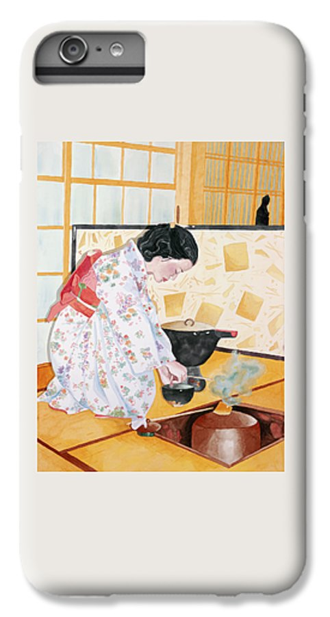 Japanese Woman Performing Tea Ceremony IPhone 6 Plus Case featuring the painting Tea Ceremony by Judy Swerlick