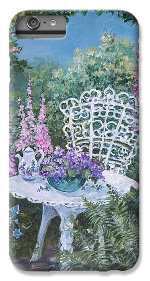 Garden;flowers;teapot;ornamental;roses; IPhone 6 Plus Case featuring the painting Tea Time In The Garden by Lois Mountz