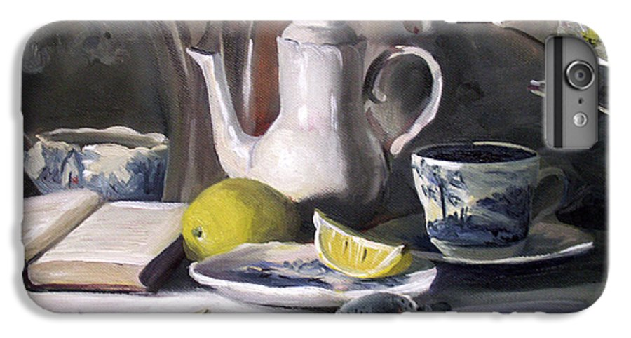Lemon IPhone 6 Plus Case featuring the painting Tea With Lemon by Nancy Griswold