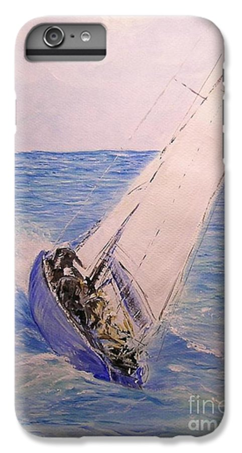 Seascape IPhone 6 Plus Case featuring the painting Tell Tails In The Wind by Lizzy Forrester