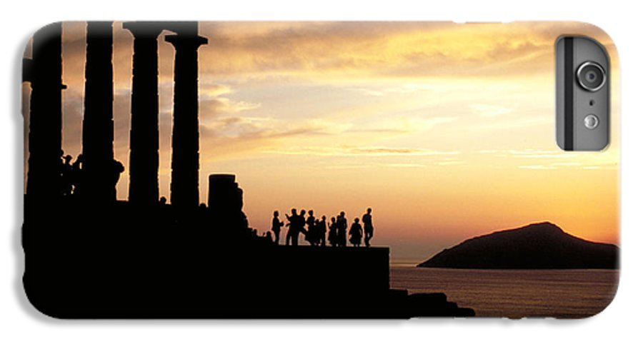 Tourists IPhone 6 Plus Case featuring the photograph Temple Of Poseiden In Greece by Carl Purcell
