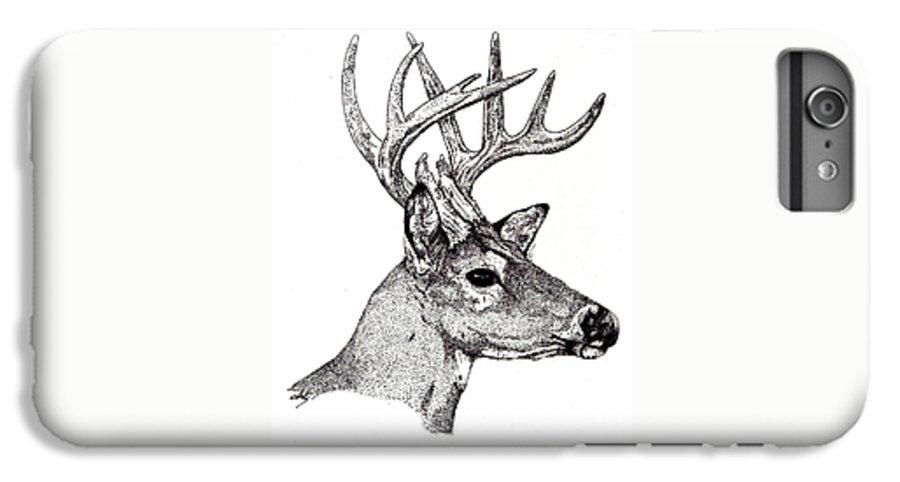Deer IPhone 6 Plus Case featuring the drawing Ten Point Buck by Debra Sandstrom