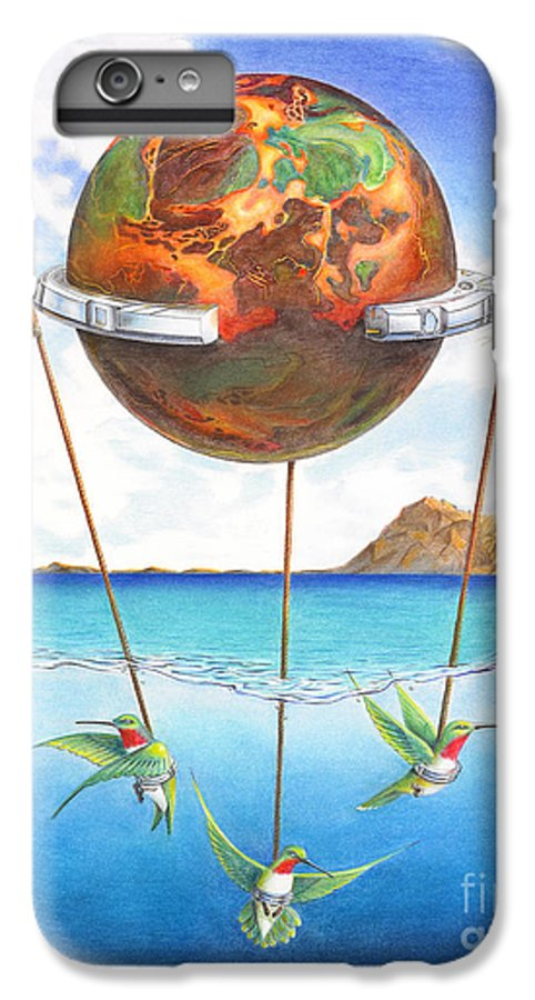 Surreal IPhone 6 Plus Case featuring the painting Tethered Sphere by Melissa A Benson