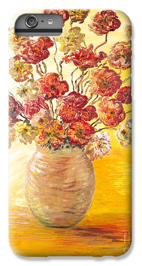 Flowers IPhone 6 Plus Case featuring the painting Textured Flowers In A Vase by Nadine Rippelmeyer