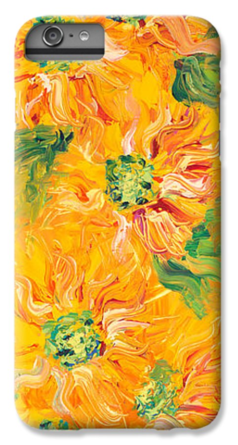 Yellow IPhone 6 Plus Case featuring the painting Textured Yellow Sunflowers by Nadine Rippelmeyer