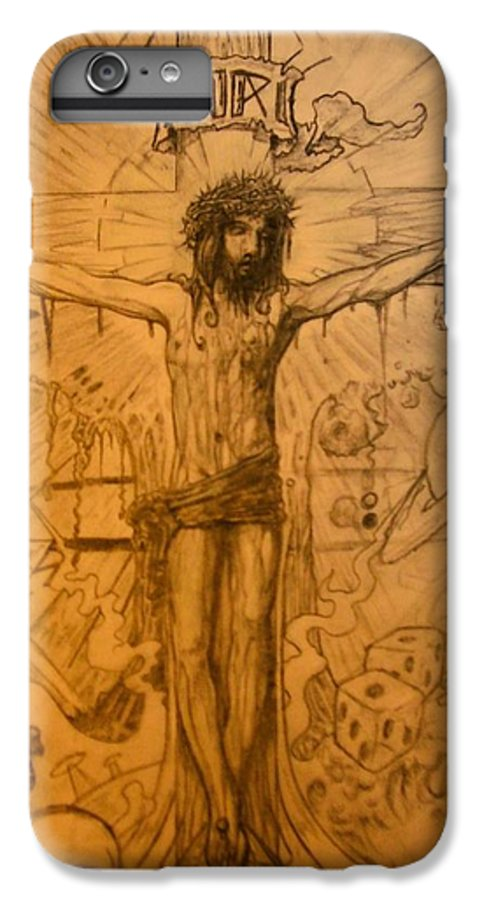 Jesus IPhone 6 Plus Case featuring the drawing The Ace Of Hearts by Will Le Beouf