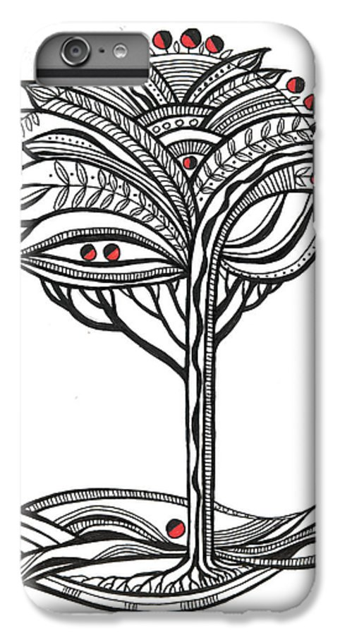 Abstract IPhone 6 Plus Case featuring the drawing The Apple Tree by Aniko Hencz