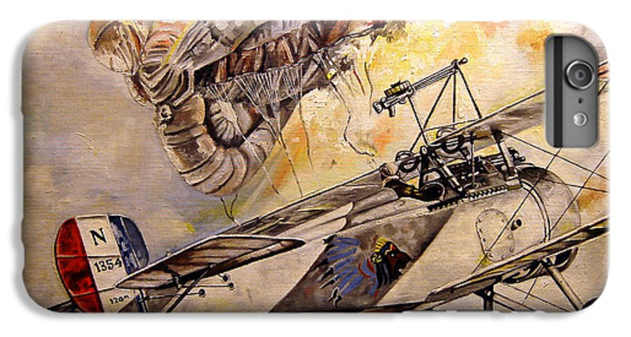 Military IPhone 6 Plus Case featuring the painting The Balloon Buster by Marc Stewart