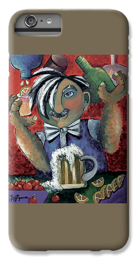 Bartender IPhone 6 Plus Case featuring the painting The Bartender by Elizabeth Lisy Figueroa