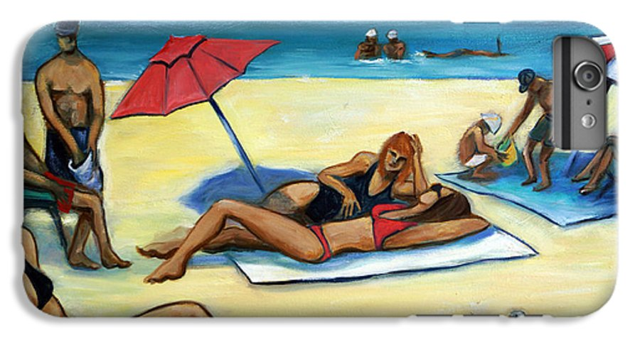 Beach Scene IPhone 6 Plus Case featuring the painting The Beach by Valerie Vescovi