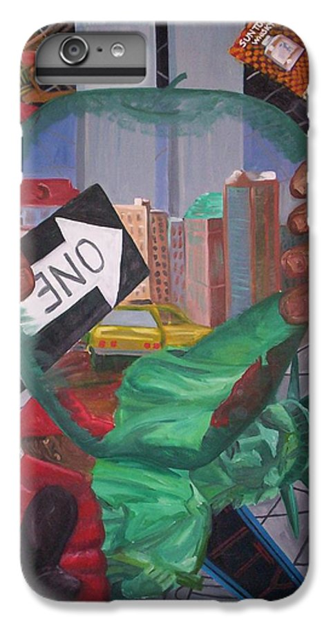 New York IPhone 6 Plus Case featuring the painting The Big Apple by Lauren Luna