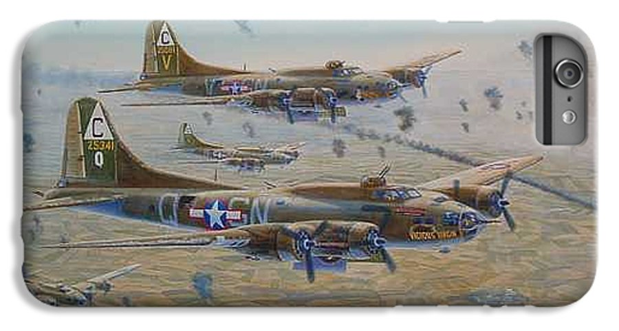 303rd Bomb Groups Vicious Virgin IPhone 6 Plus Case featuring the painting The Bomb Run Over Schwienfurt by Scott Robertson