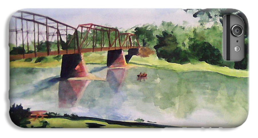 Bridge IPhone 6 Plus Case featuring the painting The Bridge At Ft. Benton by Andrew Gillette