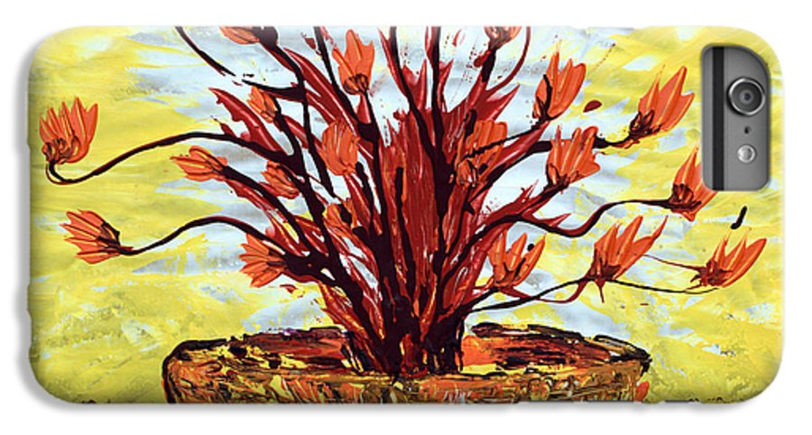 Red Bush IPhone 6 Plus Case featuring the painting The Burning Bush by J R Seymour