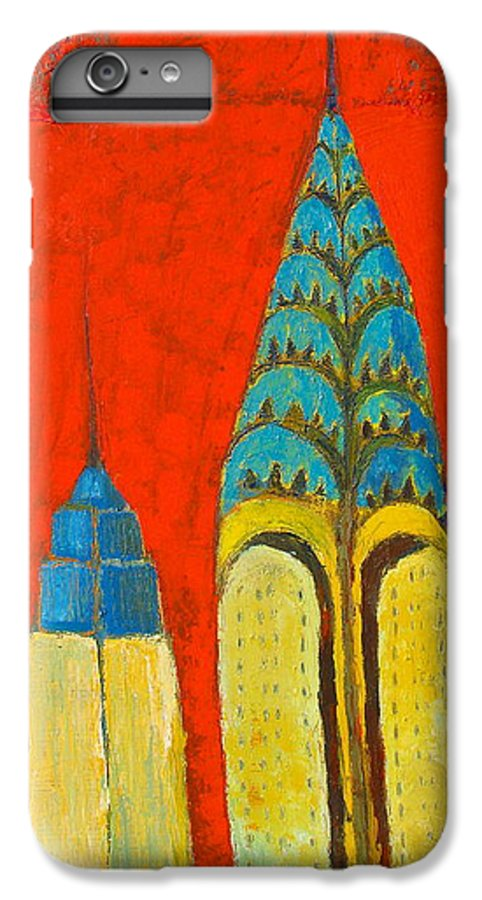 IPhone 6 Plus Case featuring the painting The Chrysler And The Empire State by Habib Ayat