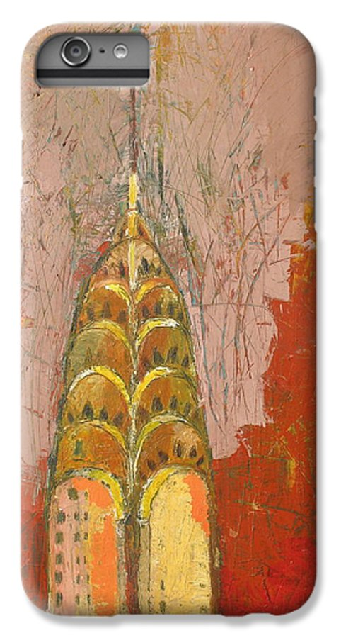 Abstract Cityscape IPhone 6 Plus Case featuring the painting The Chrysler In Motion by Habib Ayat
