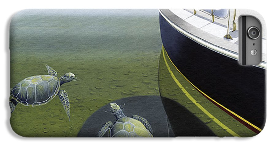 Sail Boat IPhone 6 Plus Case featuring the painting The Curiosity Of Sea Turtles by Gary Giacomelli