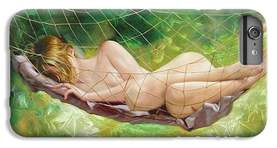Oil IPhone 6 Plus Case featuring the painting The Dream In Summer Garden by Sergey Ignatenko