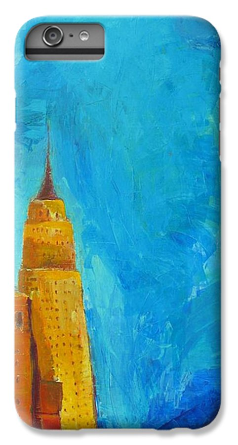 Abstract Cityscape IPhone 6 Plus Case featuring the painting The Empire State by Habib Ayat