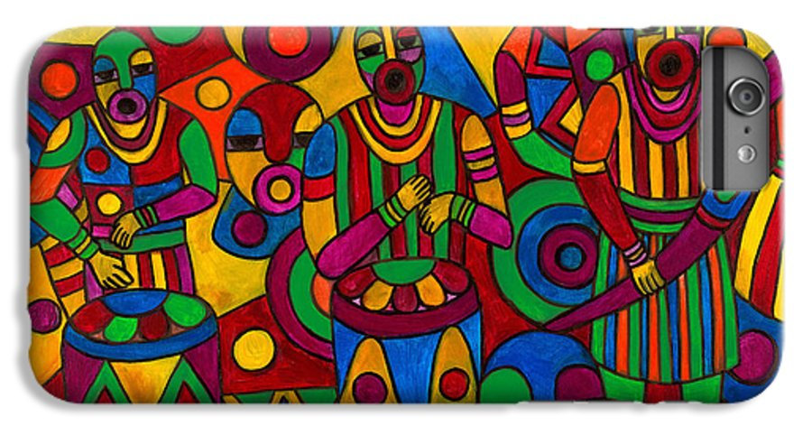 Abstract IPhone 6 Plus Case featuring the painting The Festival by Emeka Okoro
