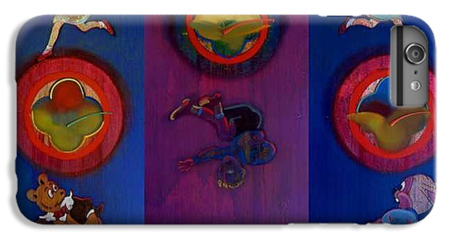 The Drums Of The Fruit Machine Stop At Random. Triptych IPhone 6 Plus Case featuring the painting The Fruit Machine Stops II by Charles Stuart