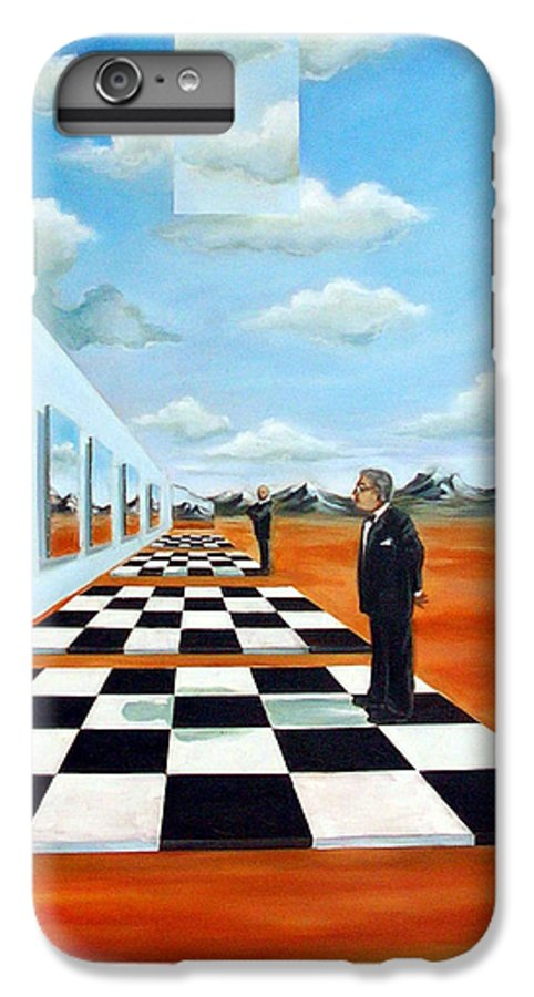 Surreal IPhone 6 Plus Case featuring the painting The Gallery by Valerie Vescovi