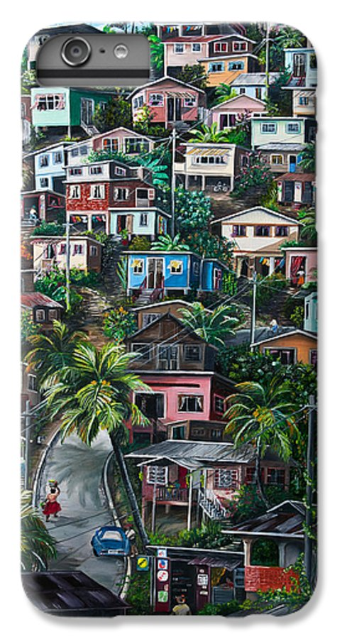 Landscape Painting Cityscape Painting Houses Painting Hill Painting Lavantille Port Of Spain Painting Trinidad And Tobago Painting Caribbean Painting Tropical Painting Caribbean Painting Original Painting Greeting Card Painting IPhone 6 Plus Case featuring the painting The Hill   Trinidad by Karin Dawn Kelshall- Best