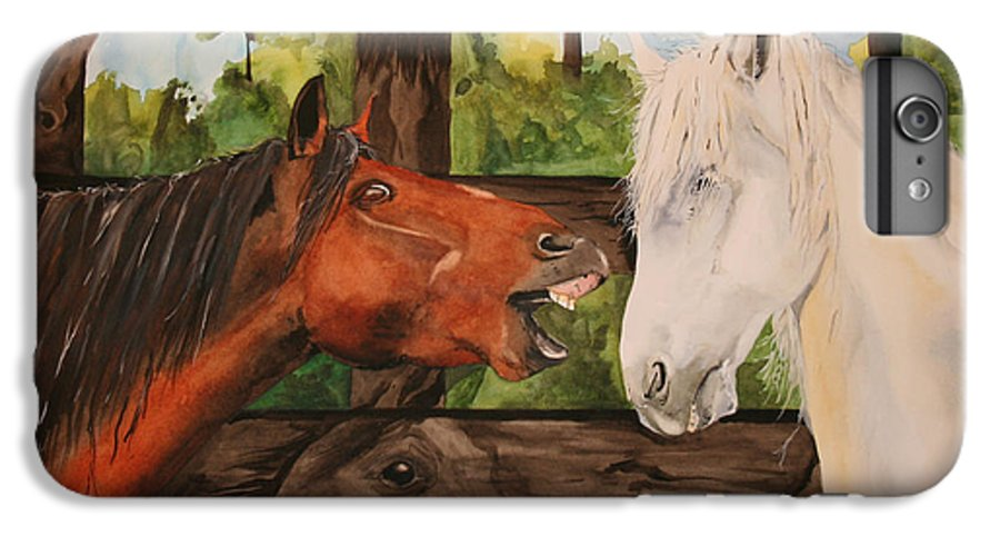 Horse IPhone 6 Plus Case featuring the painting The Horse Whisperers by Jean Blackmer