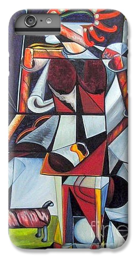 Cubism IPhone 6 Plus Case featuring the painting The Lady And Her Dog by Pilar Martinez-Byrne